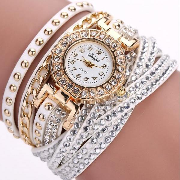 Wrap PU leather bracelet luxury dress woman white rhinestones elegant fashion gift watch