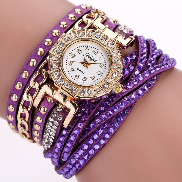 Wrap PU leather bracelet luxury dress woman purple rhinestones elegant fashion gift watch