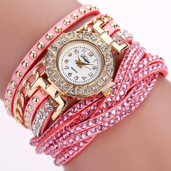 Wrap PU leather bracelet luxury dress woman pink rhinestones elegant fashion gift watch