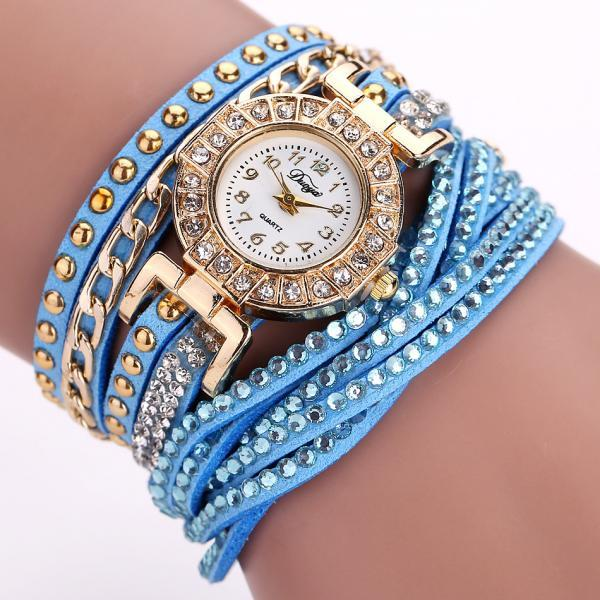 Wrap PU leather bracelet luxury dress woman blue rhinestones elegant fashion gift watch