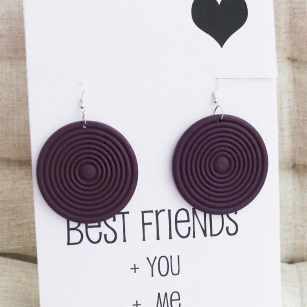 SALE - Best Friends Gift Card Drop Wood Circle Vintage Jewelry Family and Friend Purple Round Gift Woman Fashion Woodstock Earrings