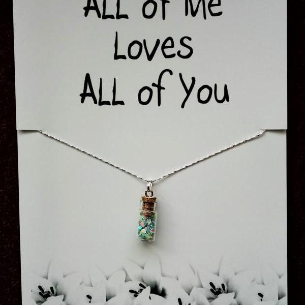 All of Me Loves All of You Gift Valentine's Day Woman Fashion Stone Pendant Necklace
