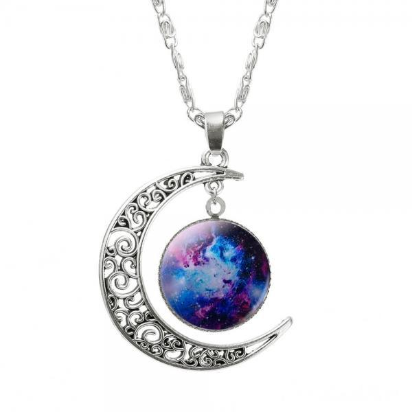 Galaxy Pendant Fantasy Moon Space Teen Colorful Love you to the Moon and Back Necklace