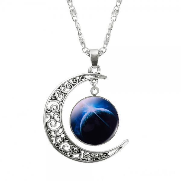 Space Fantasy Pendant Moon Space Teen Colorful Love you to the Moon and Back Necklace